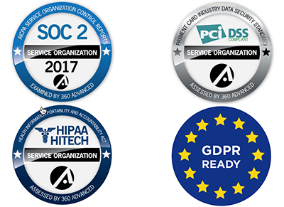 PCI Certified, HIPAA Compliant, GDPR Ready